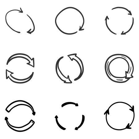 Vector Hand Drawn Doodle Circle Arrows. Repeat, Refresh Symbols. Illustration