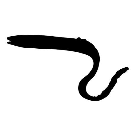 Vector Silhouette of Eel Fish on White Background Illustration