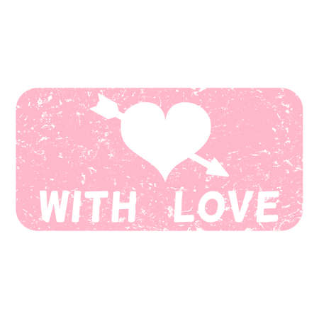 With Love Vector Pink Rectangle Stamp Illustration