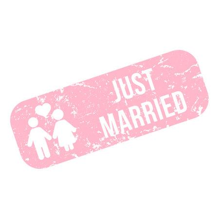 Vector Pink Rectangle Stamp - Just Married Illustration