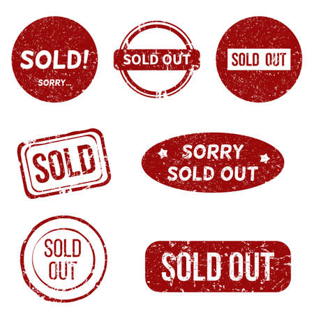 Vector Set of Red Sold Out Stamps
