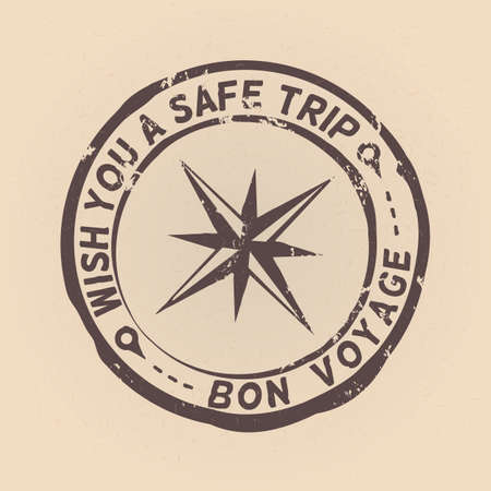 Vector Stamp with Wind Rose and Text. Wish You a Safe Trip. Bon Voyage.
