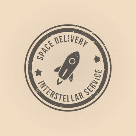 Vector Old Fashion Stamp Space Delivery. Interstellar Service.