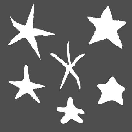 Vector Set of White Silhouette Starfishes on Dark Background.