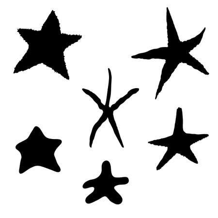 Vector Set of Black Silhouette Starfishes on Isolated White Background. Ilustracja