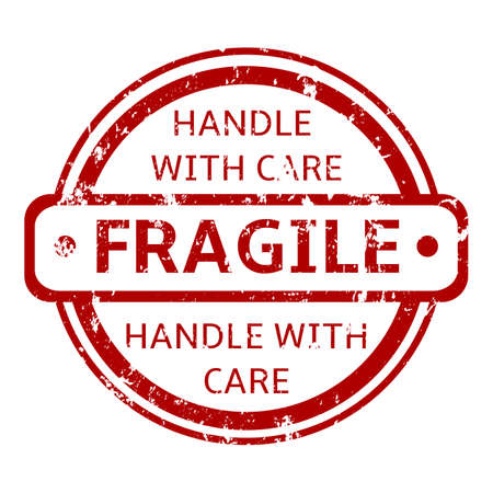 Vector Single Circle Stamp - Fragile, Handle with Care