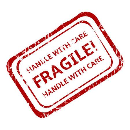 Vector Rectangle Red PostalStamp - Fragile