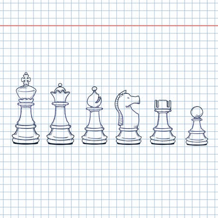 Vector Set of Sketch Chess Pieces. Full Chess Figures Collection.