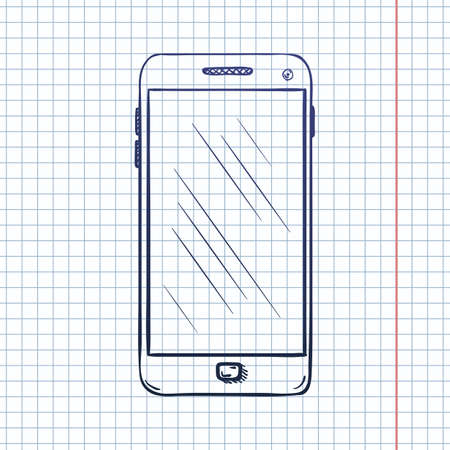 Vector Sketch Smartphone on Checkered Background