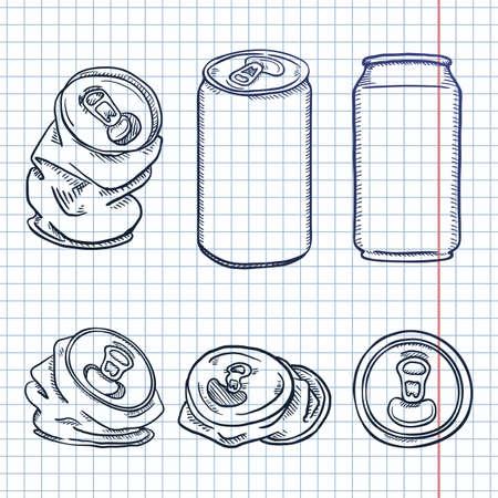 Vector Set of Sketch Aluminum Can Illustrations