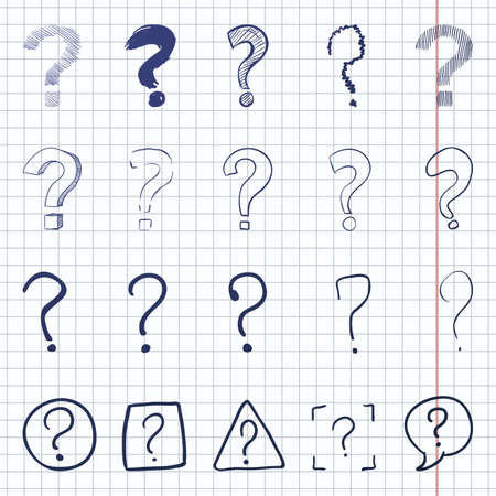 Vector Set of Sketch Question Marks on Checkered Background