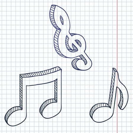Vector Set of Sketch Symbols Musical Notes. Melody Icons. 向量圖像