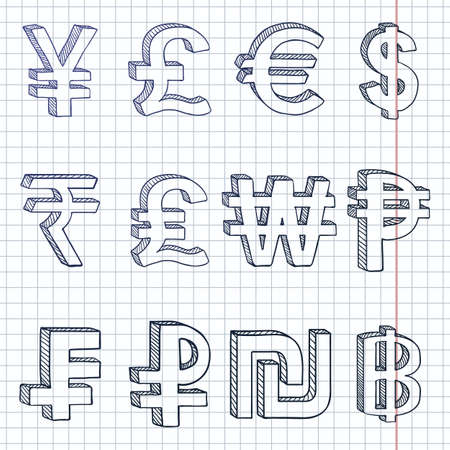 Vector Set of Hand Drawn Sketch Modern Currency Symbols 向量圖像