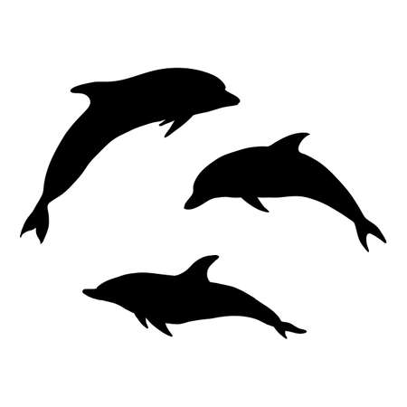 Vector Set of Black Sulhouette Dolphins