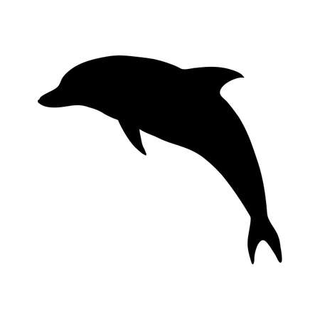 Vector Black Silhouette Dolphin Illustration