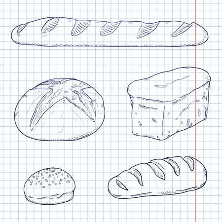 Vector Blue Sketch Set of Fresh Baked Bread Loaves and Baguettes