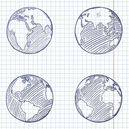Vector Set of Blue Sketch Globe Illustrations. 4 different Foreshortening of Earth Planet.