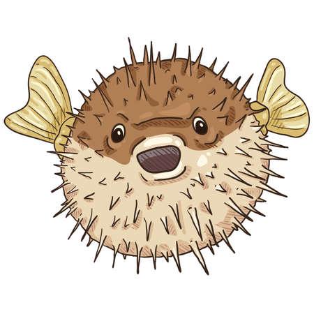 Cartoon Blowfish. Tetraodontidae Vector Comics Style Illustration