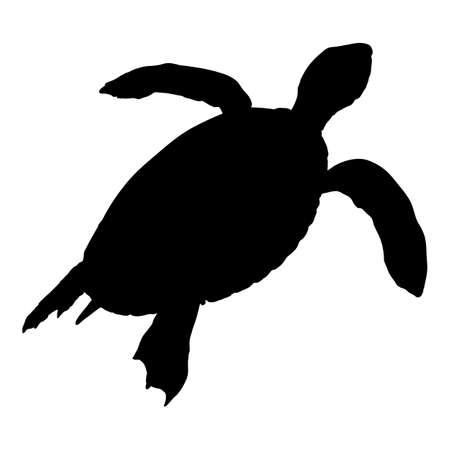 Silhouette of Sea Turtle. Vector Illustration of Eretmochelys Imbricata 일러스트