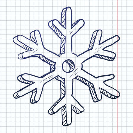 Vector Blue Sketch Snowflake on Checkered Background 向量圖像