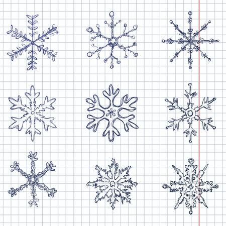 Vector Set of Blue Ink Doodle Sketch Snowflakes Vectores