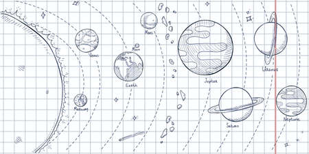 Vector Hand Drawn Sketch Illustration - Solar System with Sun and all Planets.