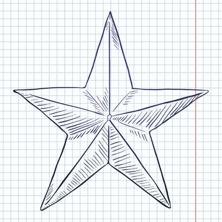 Vector Sketch Star Shape on Checkered Background 向量圖像