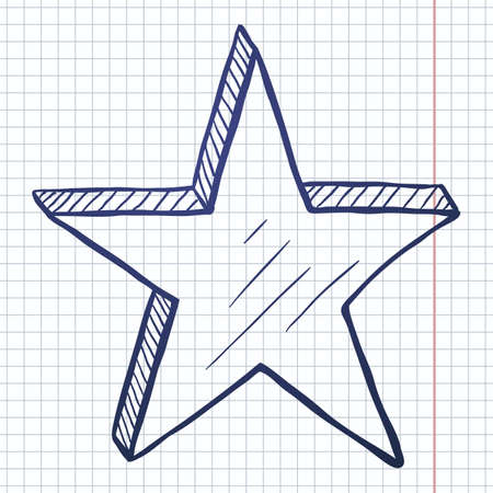 Vector Hand Drawn Blue Sketch Star