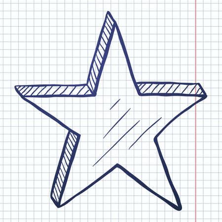 Vector Hand Drawn Blue Sketch Star