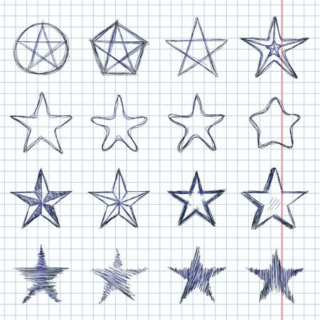 Vector Set of Sketch Stars. Abstract Doodle Illustrations