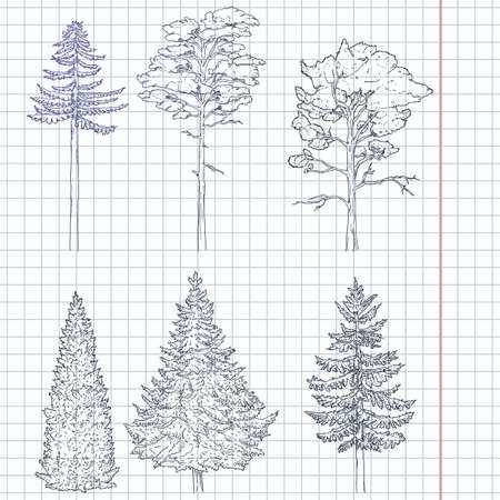 Vector Set of Hand Drawn Blue Sketch Pine Trees