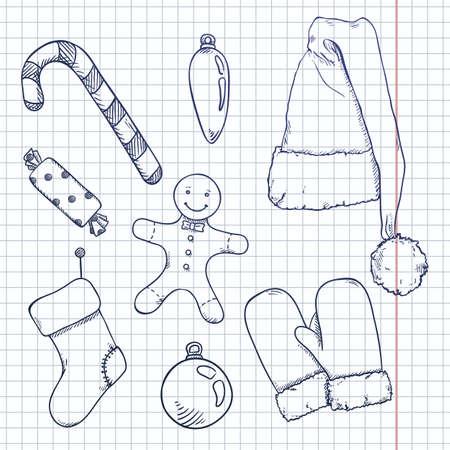 Vector Set of Blue Sketch Christmas Symbols. Clothes and Decorations. Vectores