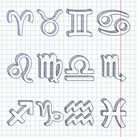 Vector Blue Sketch Set of 12 Zodiac Signs. Vectores
