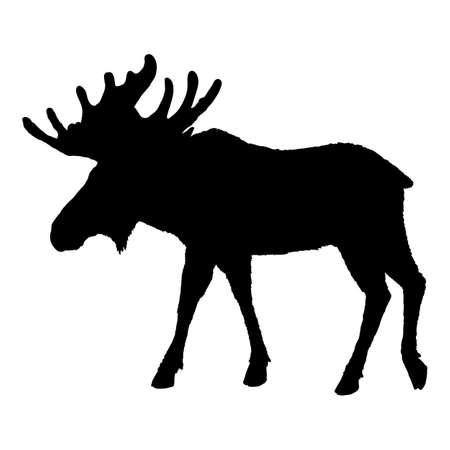 Moose Silhouette. Black Elk Shade Vector Image Vektoros illusztráció