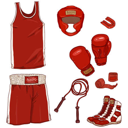 Vector Set of Cartoon Red Boxing Equipment. Helmet, Uniform, Gloves, Hand Wrapes, Mouthpiece and Shoes Vectores