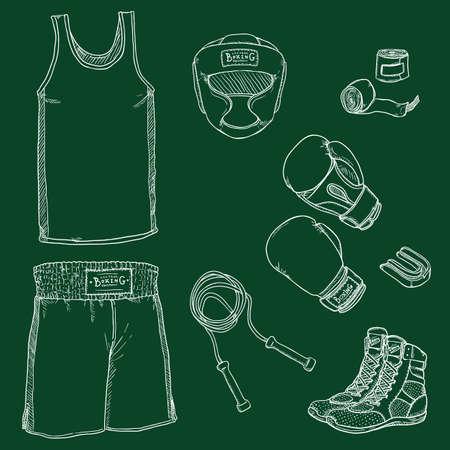 Vector Set of Chalk Sketch Boxing Equipment Vectores