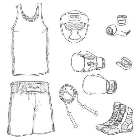 Sketch Boxing Equipment. Hand Drawn Illustrations Set Vectores