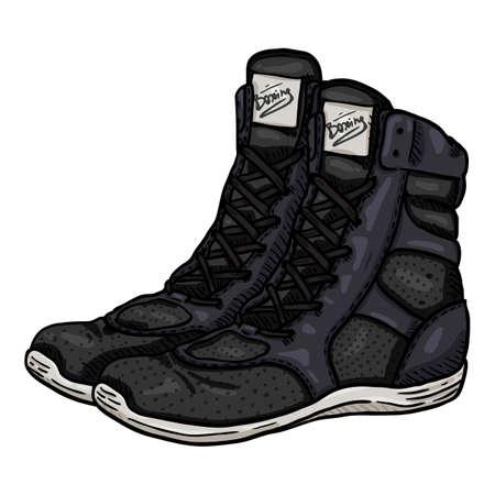 Vector Cartoon Black Boxing Shoes Illustration Vectores