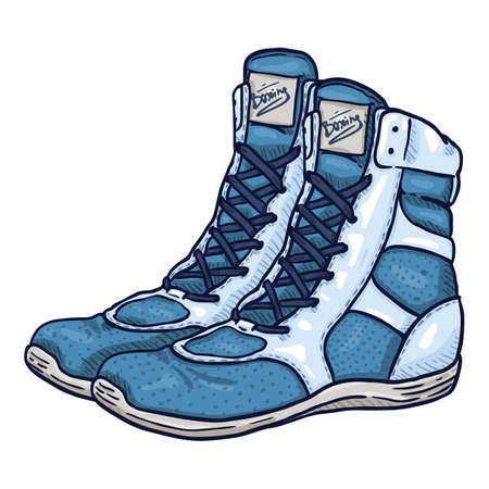 Vector Cartoon Blue Boxing Shoes Illustration Vectores
