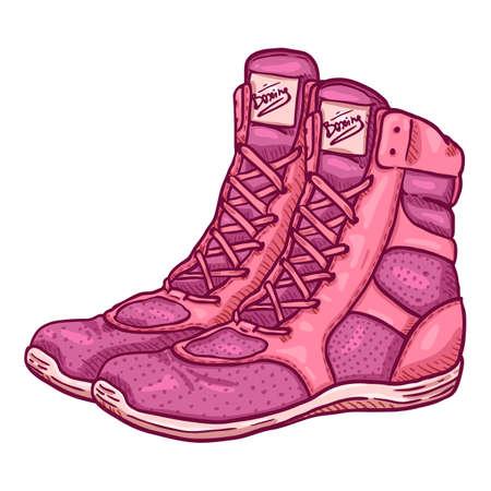 Vector Cartoon Pink Boxing Shoes Illustration