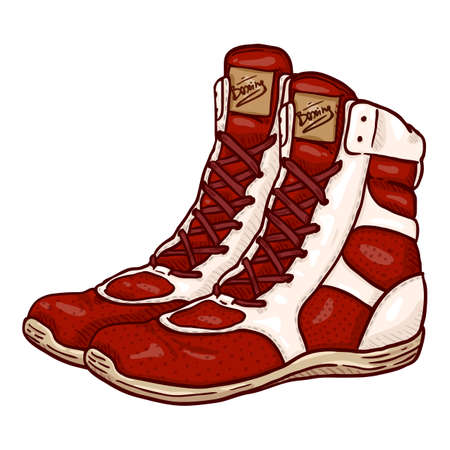 Vector Cartoon Red Boxing Shoes Illustration