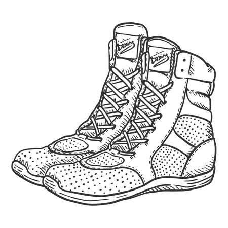 Vector Hand Drawn Sketch Boxing Shoes