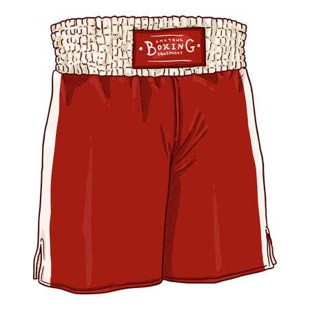 Vector Cartoon Red Boxing Shorts