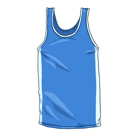 Vector Cartoon Blue Boxing Tank Shirt