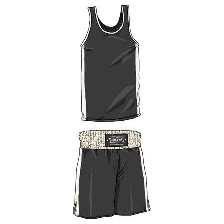 Vector Cartoon Black Boxing Uniform. Shorts and Tank Shirt. Vectores