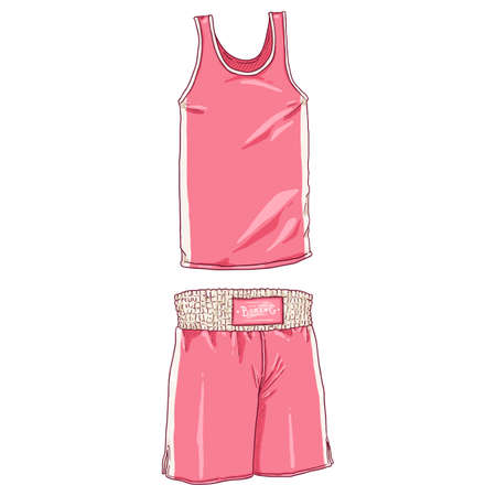 Vector Cartoon Pink Boxing Uniform. Shorts and Tank Shirt.