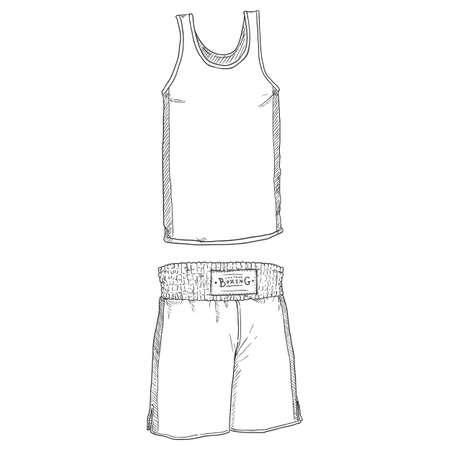 Vector Sketch Amateur Boxing Uniform. Shorts and Tank Shirt.