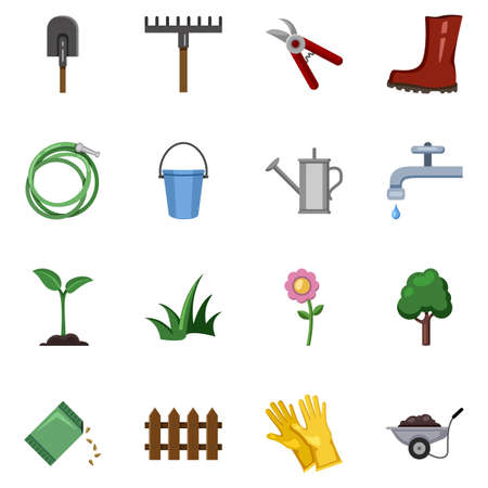 Vector Set of Garden Icons. Color Flat Gardening Tools and Plants