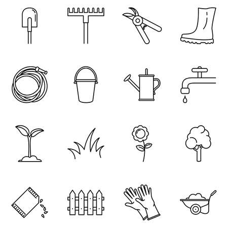 Vector Set of Garden Icons. Gardening Tools and Plants Outline Symbols Vectores
