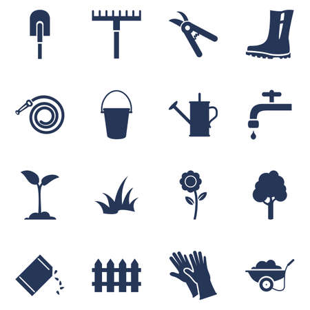 Vector Set of Garden Icons. Silhouette Gardening Tools and Plants Symbols